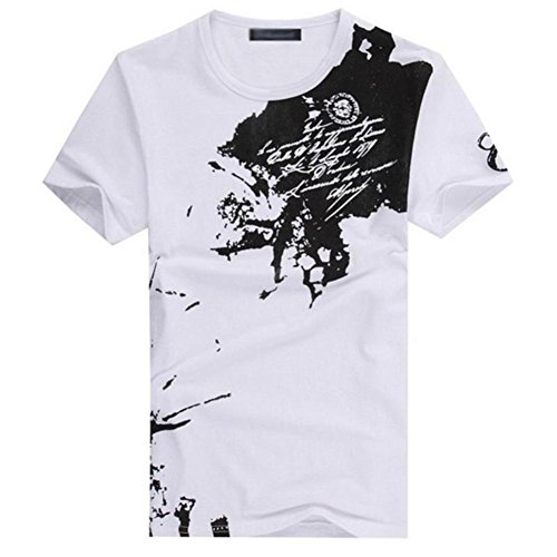 Eachbid Fashion Summer Men's Clothing Ink Printed Class T-shirt