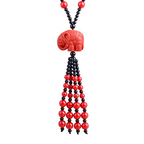 LOMOL Womens Charm Long Bead Chain Lucky Cinnabar Pendant Necklace Costume Jewelry Exquisite Gift For Lover(C3)]()