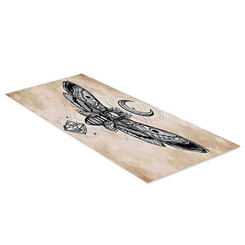 C COABALLA Fantasy House Decor Waterproof Floor Sticker,Dead Head Hawk Moth with Luna and Stone Spiritual Magic Skull Illustration for Kitchen Living Room,47.2