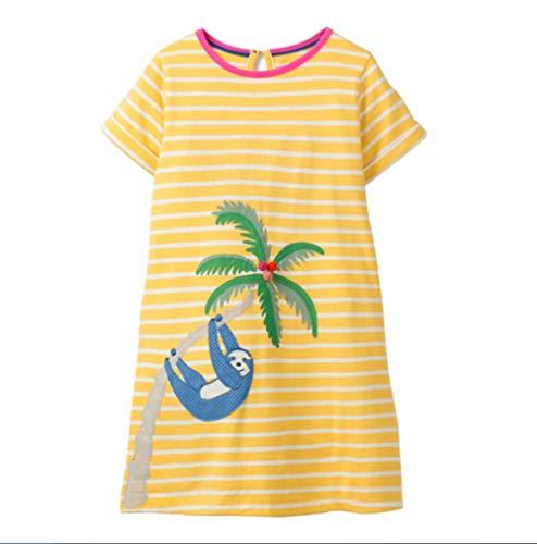 - WRHJZW Kids Girls Cotton Dress Short Sleeves Casual Summer Striped Bear Shirt Dresses for Girls