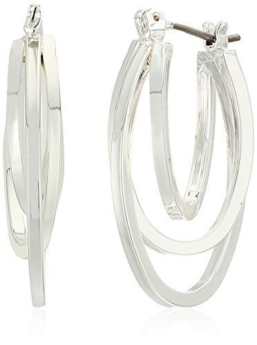 Napier Oval Earrings - Napier Women's Silver-Tone Oval Layered Hoop Earrings