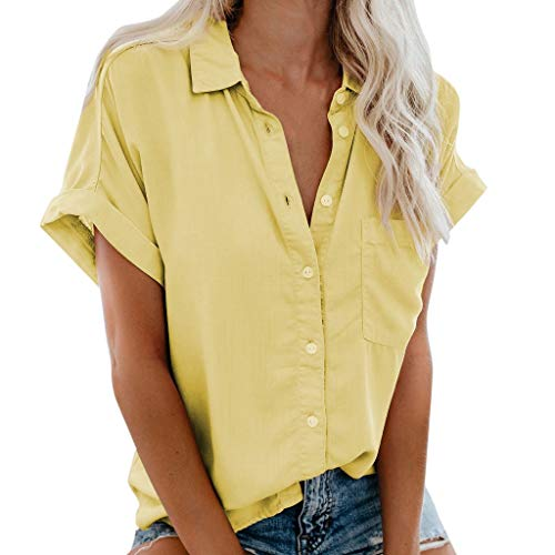 〓COOlCCI〓Women's Summer Half Sleeve Dip Hem Plain Pocket T-Shirt Blouse Crop Top Loose Front Button Shirts Yellow