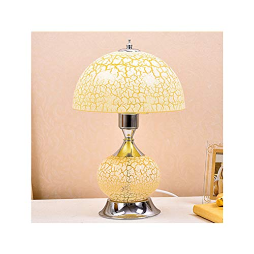 - BOFEISI Bedroom Bedside Lamp, European Table Lamp, Wedding Glass Bedside Lamp, Button Switch, Cracked Glass Lampshade Lamp Body, Silver Plated Lamp Holder, Bedroom, 111~220V,Yellow