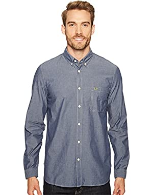 Mens Long Sleeve Bold Chambray Denim w/ Contrasted Stitch