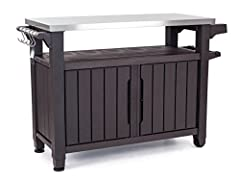 Entertain this summer in style! When patio dining storage needs to look good and function well, the Keter Unity Extra-Large Entertainment Storage Table / Prep Station provides all that you need. Perfect for both indoors and out, this storage ...