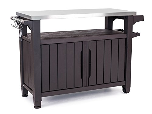 (Keter Unity XL Indoor Outdoor Entertainment BBQ Storage Table/Prep Station/Serving Cart with Metal Top, Brown)