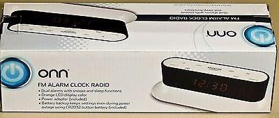 ONN Fm Clock Radio Dual Alarms w/ Snooze and Sleep Functions