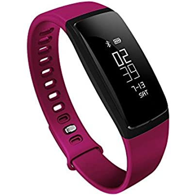 KOBWA Fitness Tracker Health Sleep Monitor Heart Rate Monitor with Pedometer Blood Pressure Wirless Activity Tracker IP67 Waterproof Smart Wristband Bracelet Watch for Andriod and IOS Estimated Price £23.78 -