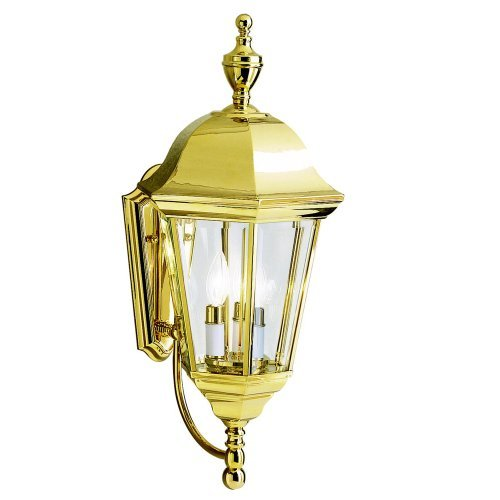 Kichler Wall Brass Polished (Kichler Lighting 9489PB LifeBrite 3-Light Outdoor Wall Mount Lantern, Polished Brass with Clear Beveled Glass Panels by Kichler)