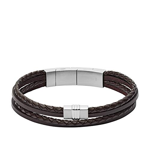 (Fossil Men's Brown Multi-Strand Braided Leather Bracelet, One Size)