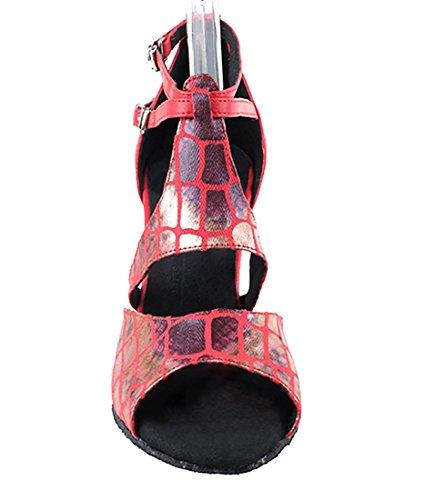 Very Fine Ballroom Latin Tango Salsa Dance Zapatos Para Mujeres Sera7004 3 Pulgadas Heel + Plegable Brush Bundle Red