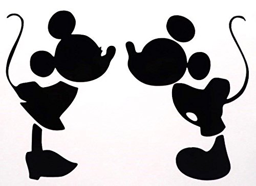 Price comparison product image Mickey Mouse Kissing Minnie Mouse Decal Vinyl Sticker / Cars Trucks Vans Walls Laptop / BLACK / 5.75 in / CCI386