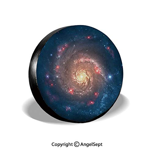 - Spare Tire Cover,Mystical Spiral Galaxy Expanse Beyond Milky Way Planet Astral Space Art,Petrol Blue Peach,for Jeep Trailer SUV RV and Many Vehicles,17 Inch