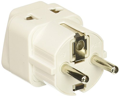 Schuko Universal to Europe Adapter Plug - 4 Pack - Grounded Type E/F - Europe Plug Adapter Works In France, Spain, Germany, Netherlands, Belgium, Poland, (Schuko Type)