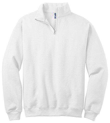 Jerzees Adult NuBlend Quarter-Zip Cadet Collar Sweatshirt, White, (Adult Jerzees Sweatshirt)