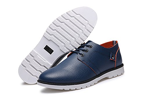 Aisun Mens Formal Breathable Lace Up Business Oxford Shoes Blue 2 594ca