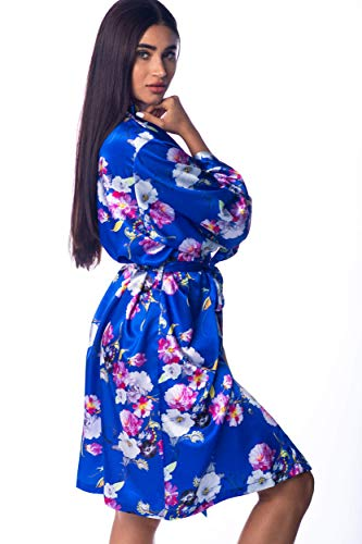 Women's Floral Satin Silky Robe Kimono for Bride Bridesmaids Flower Girls Comfy Robe for Kids and Plus Size Women L/XL Floral Blue