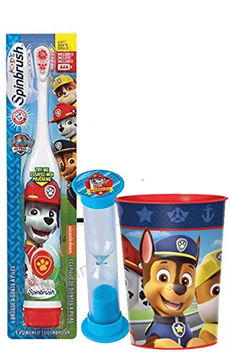 The Paw Patrol Boys and Girls 3pc Bright Smile Oral Hygiene Bundle! Turbo Spin Toothbrush, Brushing Timer & Mouthwash Rinse Cup! Plus Dental Gift Bag & Tooth Saver Necklace! (Marshall)