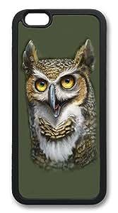 iPhone 6 Case, Soft Flexible TPU Bumper Protective Case Black Skin Scratch-Proof Case for iPhone 6 (4.7 inch) - Wise Owl Pattern