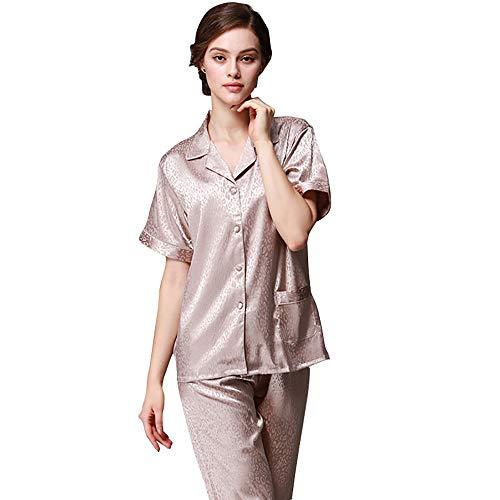Mujer Con Conjunto xl Camisón m Albaricoque Camisa De Bolsillo Botón Metro Y Satén Pijamas Seda Larga Casual Tamaño Ropa Albaricoque Pantalones Manga color AwqxS5I