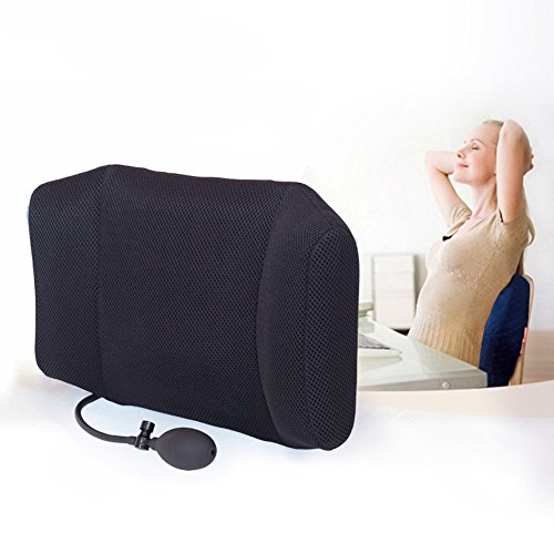 Tcare Portable Inflatable Lumbar Support Cushion/ Massage Pillows - Orthopedic Design for Back Pain Relief - Lumbar Support Pillow With Premium Adjustable Straps (Black) - Lumbar Massage Cushion