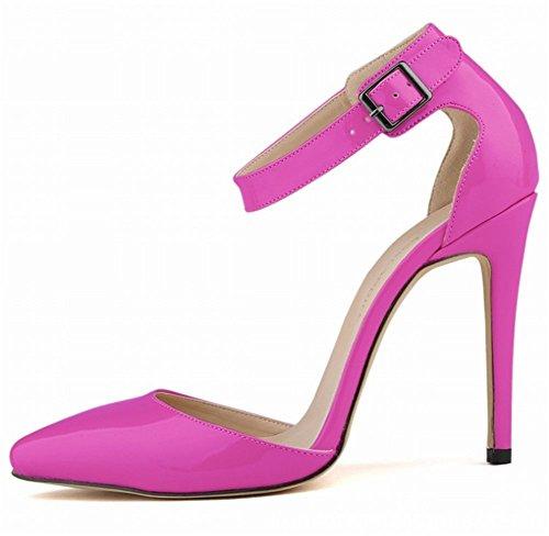 Cm Mariage de Talon Cheville Sandale wealsex Cuir Soirée Sexy Violet Femme 11 Chaussure Bout Boucle Mode Talon PU Aiguille Vernis Escarpins Pointu Bride qO4RF