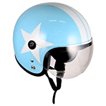 Pilot Style Open Face Motorcycle Helmet (Blue White-star, Large) Model No.jet-bb