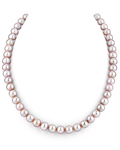 THE PEARL SOURCE 14K Gold 7-8mm AAAA Quality Pink Freshwater Cultured Pearl Necklace for Women in 18 Princess Length