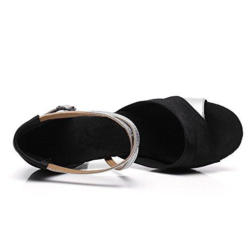 HROYL Mujer Zapatos de Baile Latino Satén Salón de Baile 221 Plateado
