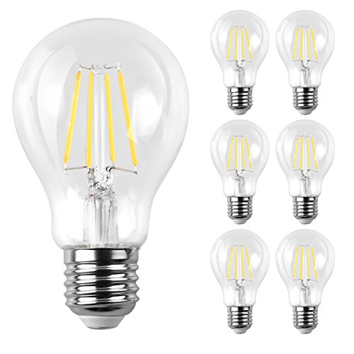 Ascher E26 LED Classic Light Bulbs / 6W, Equivalent 60W , 800lm / Daylight White 5000K / Filament Clear Glass / Non Dimmable / Pack of 6 - 60w Clear Glass
