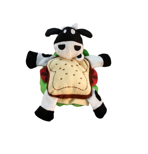 Multipet Silly Plush Animal Sandwiches Shaped Squeak Dog Toy, Roast Beef