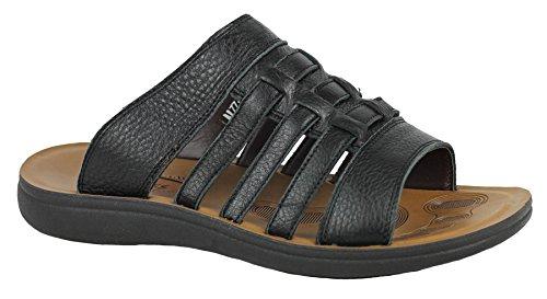 Echt Leder Herren Beach Breite Füße Walking Slip On Sandale in Schwarz und Braun offen Schwarz
