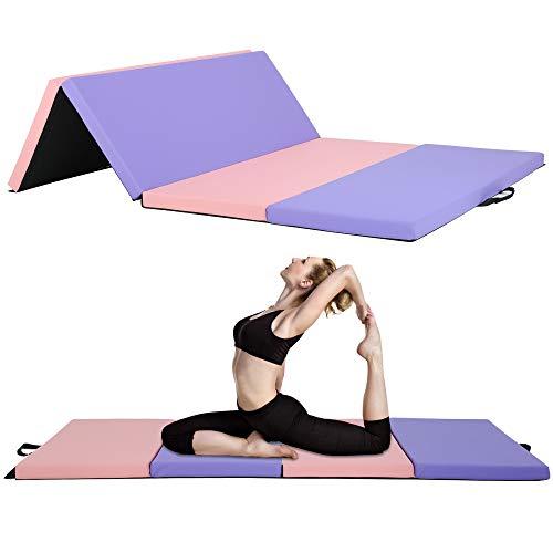 Bigacc Kids GymnasticsMat 4x6x2 Tumbling Mat Floding Gym Mat Home,Thick Yoga Mat Exercise Equipment Mat for Aerobics Workout Fitness Training 4 Pannel Lightweight Pink and Purple