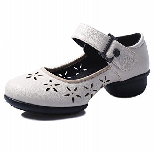 la Cuero Zapatos de Samba Tobillo de de Verano bajo Baile Mujer de Baile Cuadrado Zapatos Baile los Transpirable Modern Zapatos Suave BYLE Blanca Sandalias Jazz 37 de Inferior EPqxW6OOwS