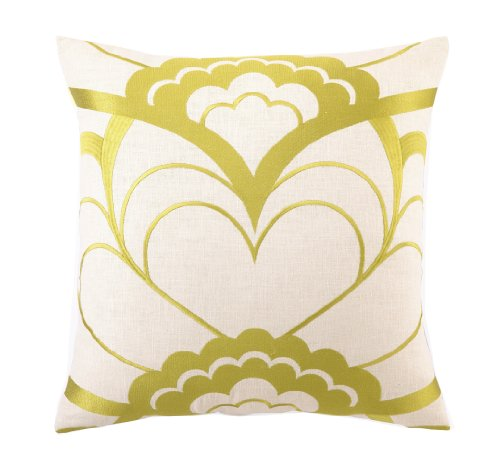 Trina Turk Down Filled Pillow, Deco Floral, Citron, 20 by 20-Inch