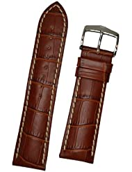 Hirsch Modena Gold Brown Alligator Embossed Leather Watch Strap 103028-70-20
