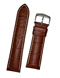Hirsch Modena Gold Brown Alligator Embossed Leather Watch Strap 103028-70-22