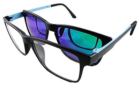 Circleperson Men Eyeglass Frame Magnetic Clip on Polarized Sunglasses super light (Matte black W clear lens, Mirror green clip - Eyeglasses Light Blue Frame