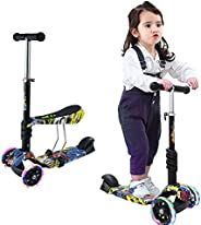 2 in 1 Kids Kick Scooter, 3 Wheels Walker with Removable Seat and Back Rest, Adjustable Height, Light Up Wheel