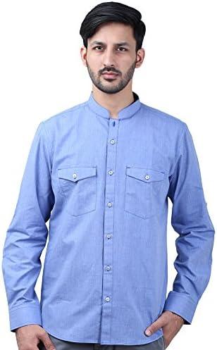 53e155d8e0a4 Men s Casual Shirt Full Sleeve Solid Cotton Light Blue (36)  Amazon ...