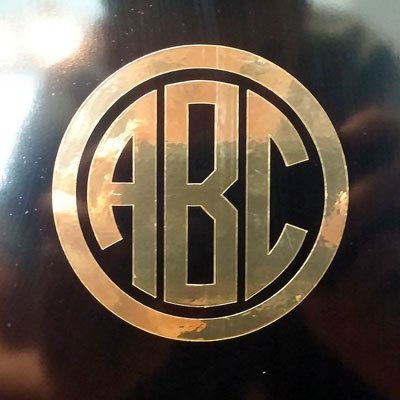 "CUSTOM CIRCLE MONOGRAM INITIALS VINYL DECAL / STICKER CARS YETI CUP LAPTOP PHONE (3"", Gold Chrome)"