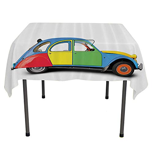 1960s Decorations Collection, Tablecloth Dust-Proof Table Cover Retro Car Mini Small Fun Europe Chromium Old Fashion Good Old Days Picture, Home Decoration Outdoor, 50x50 Inch Yellow Blue