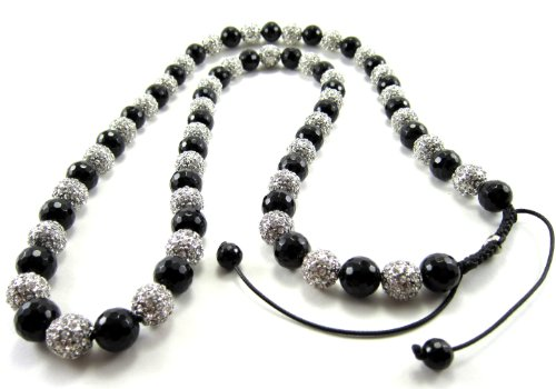 (12mm Iced Out Black and White Beaded Adjustable Necklace)
