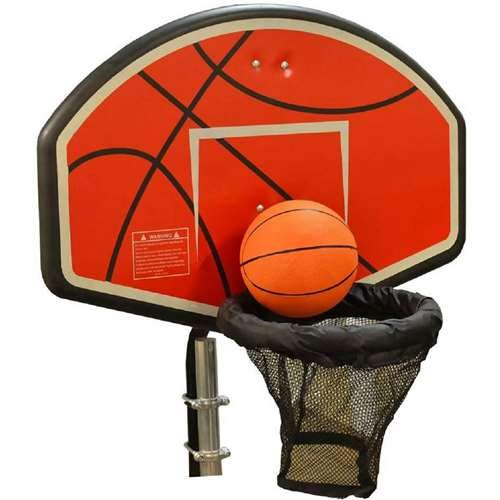 JumpKing Trampoline Basketball Hoop with Attachment and Inflatable Basketball (Best Trampoline Basketball Hoop)