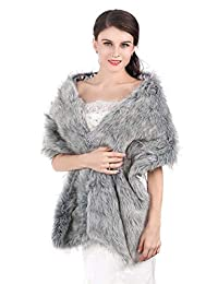 Unicra Women's Wedding Long Faux Fur Wraps and Shawls Wedding Bridal Scarves for Brides and Bridesmaids (Grey)