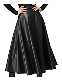 Fulok Womens Flared Swing Solid High Waist Faux Leather Long Skirt