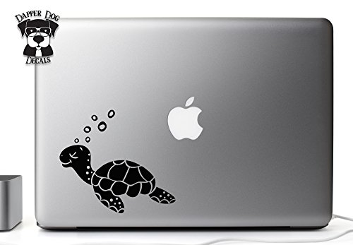 Cute Sea Turtle Black 5 Inch Decal Sticker for MacBook Air Pro Laptop Notebook Auto Great Gift Mac PC Computer for $<!--$3.99-->