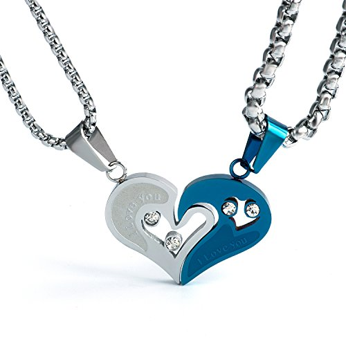 Wolentty Stainless Steel Heart Pendant Necklace Jewelry for Men Women Christmas Gift
