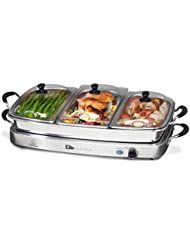 Elite Gourmet Elite Platinum EWM-9933 Maxi-Matic 7.5 Quart Triple Buffet Server, Tray, Oven-Safe Pan, Gravy & Holiday Essentials, Stainless Steel