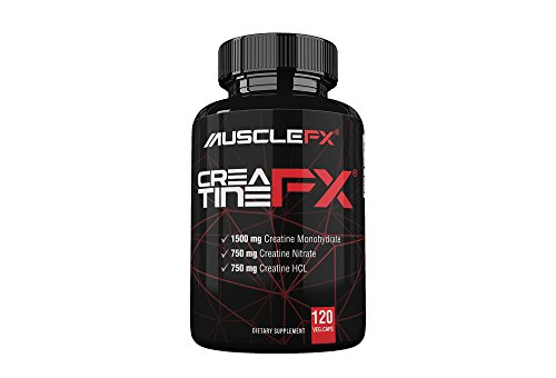 MUSCLE FX® CREATINE FX® 120 Veg. Caps | America's Top Selling Creatine for Increased Muscle Mass, Strength & Endurance | 3 Forms of Creatine- Creatine Monohydrate, Creatine Nitrate, Creatine HCL |